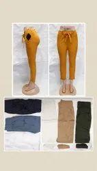 Women Cotton Pants, Girls Knot  Slub Pants , Women Knot Pant