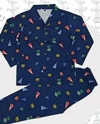 Cotton Blue Boy's full sleeves night suit