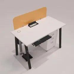 Frosty White Top Modern Glass Screen Desking Cross Metal Leg One Seating