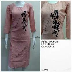 Rayon Party Wear Fancy Designer Kurti, Size: XL, Wash Care: Machine wash