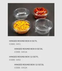 round pet hinged container 8 oz