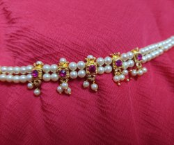 White Maharashtrian chinchpeti necklace set, Occasion: Wedding