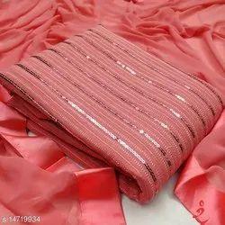 Chanderi A-Line Ladies Punjabi Salwar Suit, Handwash