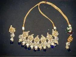 MJ Brass Ladies Designer Gold Plated Kundan Necklace Set