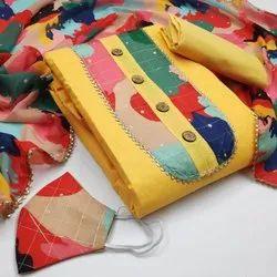 Maitrik Fashion Ladies Unstitched Printed Cotton Suits For Regular