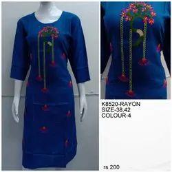 Rayon Casual Wear Ladies Fancy Kurti, Size: Medium, Wash Care: Machine wash