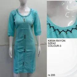 Casual Wear Regular Kutch work designer kurti, Size: XL, Wash Care: Machine wash