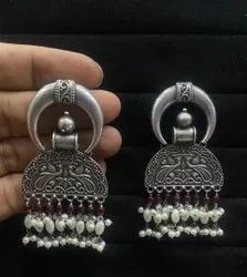 Silver Ethnic Collection Ladies Artificial Oxidised Earrings