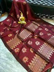 Party Wear Printed Ladies Designer Jamdani Saree, 6.5m