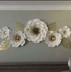 AZMI HANDICRAFTS Golden Metal Flower Wall Art, Size: 52