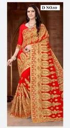 Red Wedding Saree, Machine Wash, Saree Length: 6.30 Mtr With Blouse