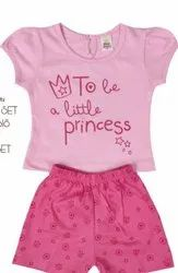 Pink Girl's half sleeves Cotton sets