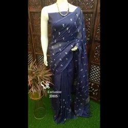6.3 M Party Wear Cotton Slab Embroidery Sarees