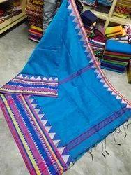 Wedding Wear Blue Cotton Silk Saree, Without Blouse Piece, 6 m (with blouse piece)