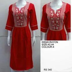Rayon Pink Readymade designer kurtis, Size: Free Size