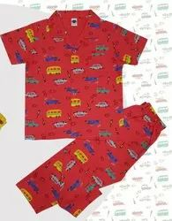 Unisex Red Boy's Half Sleeves Cotton Night Suits