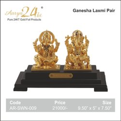 Gifts Aarya 24kt Gold Foil Laxmi-Ganesha Pair Window / Statue