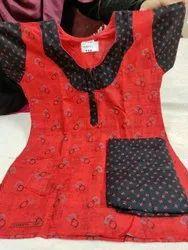 Female Black Cotton Night Suit