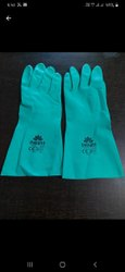 Green Nitrile Chemical Resistant Gloves, Size: Large