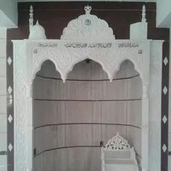 Square Carved White Makrana Marble Mosque Qubla, For Decor, Size: 10 Feet