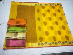 Saflullah FAbric Party Wear Chanderi Fancy Silk Saree, 6.3 m (with blouse piece)