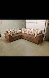 Furniture point Wooden L Shape Corner Sofa Cum Bed, For Home, Living Room