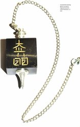 Black Turmaline Engraved Symbol Cube Pendulum
