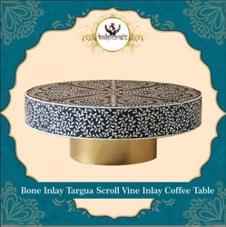 Kalpcraft International Dark blue Bone Inlay Coffee Table