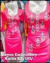 Casual Wear Straight Ladies Embroidery Kurti, Wash Care: Machine Wash