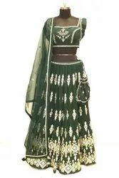 Embroidery Machine Stunning Green Color Festive Wear Embroidered Lehenga Choli - 30825