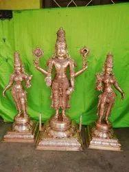 Tirupathi Lord Balaji  3 Feet With Bhoodevi And Sri Devi  Panchaloham