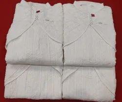 White Cotton Koti Anarkali Suit, Machine Wash