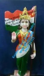 White Painted Bharat Mata Marble Statue, Outdoor, Size: 2.5 Ft