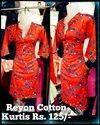 Straight Ladies Casual Reyon Cotton Printed Kurti
