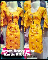 Straight 3/4th Sleeve Ladies casual Reyon Cotton Printed Kurti, Wash Care: Machine wash