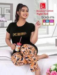 Cotton Hosiery Printed Ladies night Wear