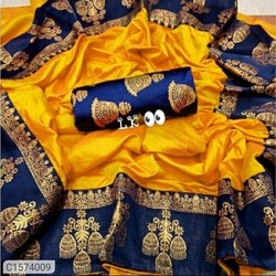 Festive Wear Printed Varnam Beautiful Solid Paper Silk Saree with Jacquard Border., 5.5 m (separate blouse piece)