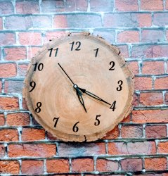 Quartz Analog Natural Wooden slice clock, For Home, Size: 12