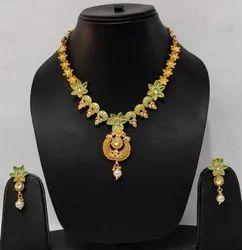 Golden Pan India Matte Finish Antique Designer Necklace Set