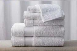 Plain White Cotton Bath Towel for Hotels, Size: 30x 60