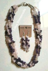 Rose Quartz & Amethyst Necklace Earring Set