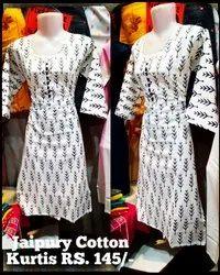Ladies khadi Cotton jaipury print Kurti