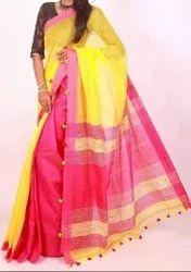 Wedding Green Handloom Cotton Silk Saree