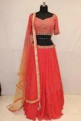 Georgette Pink Attractive Red Color Function Wear Designer Lehenga Choli - 30826