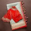 Embroidery Lace Work Organza Saree