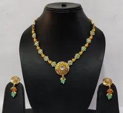 Mint Color Artificial Necklace Set