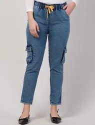 Denim Stretchable Cargo Joggers, Size: 28,30 And 32 Waist