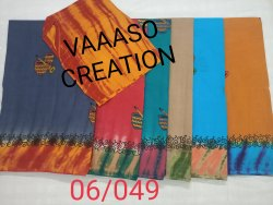 pure batik Print Cotton Saree, With Blouse Piece