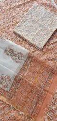 Vinayakam Jaipuri  Hand Block Printed Cotton Dress material with Kota Dupatta set