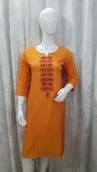Light Orange Rayon Fabric Long Length Kurti With Computer Embroidered Work